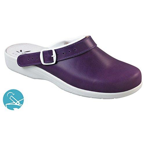 Napoli couleur - Sabot en cuir pour femme, sans embout ISO EN 20347 (PRUNILLE, PARME) Parme