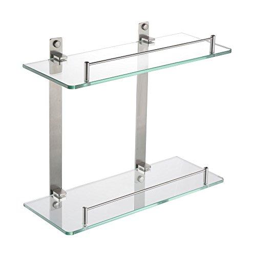 Kes mensola in vetro per bagno mensola da parete, 2 ripiani, acciaio inossidabile vetro temperato, bgs2200b-2