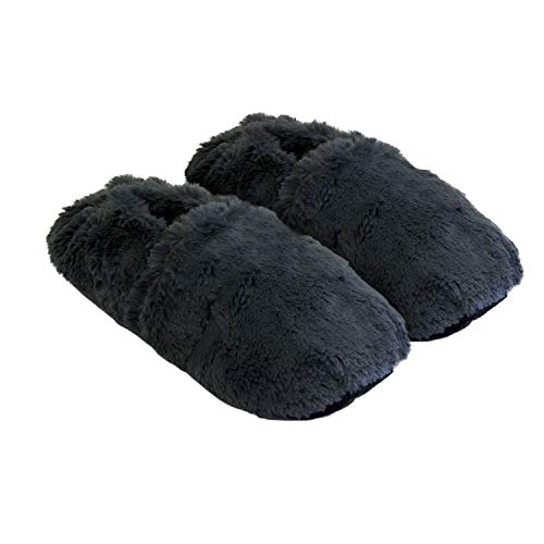 Thermo Sox aufheizbare Hausschuhe für Mikrowelle und ofen - Mikrowellenhausschuhe Wärmepantoffeln Wärmehausschuhe Wärmeschuhe Fußwärmer Supersoft, Farbe:Grau, Größe:Gr.L 41-45