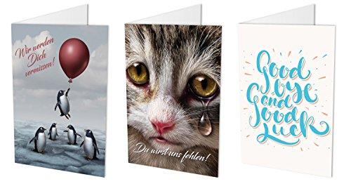 """Maxi-Karten 3er-Set""""ABSCHIED"""", Klappkarten DIN A4 mit Kuvert im praktischen Set, Abschiedskarte Kollegen, Zum Abschied, Verabschiedung, Ruhestand"""