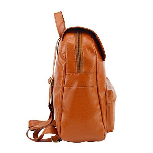 Zaino femminile in pelle PU moda tinta unita (colori assortiti)-Rosso marrone