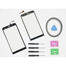 jrlinco nuevo pantalla Scheibe pantalla táctil digitalizador Glass Repuestos para Asus ZenFone 2ZE551ML Negro + Herramientas & adhesión + Cleaning Alcohol Wiping Package
