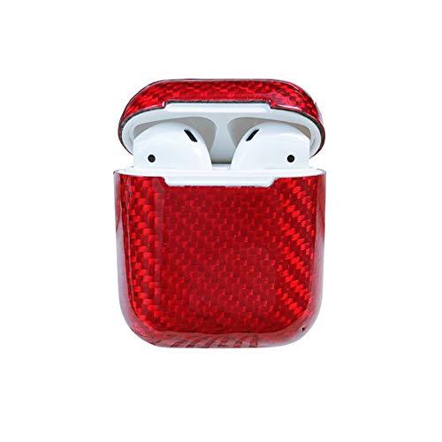 qichenlu [Extrem Dünn] Glacé-Rot AirPods Carbon Case, AirPods Gehäuse Schutz Hülle Echt Kohlefase Kratzfest Schale Kompatibel mit Apple AirPods 1 Ladecase Carbon-gehäuse