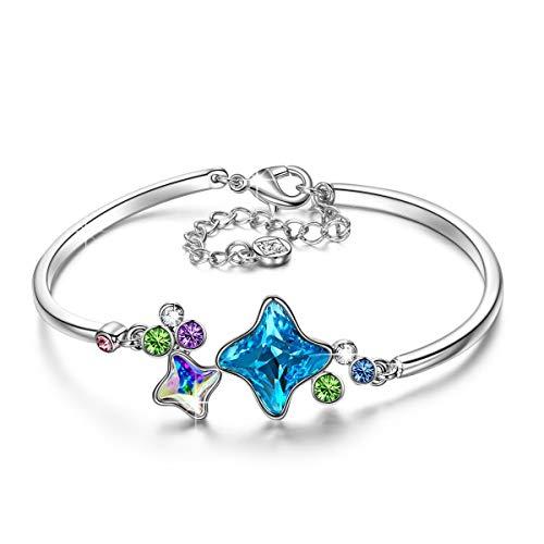 Kami Idea Stern Wunsch Damen Armband mit Kristallen aus Swarovski Armreif Schmuck Geschenke zum Geburtstag Weihnachten Jubiläum Hochzeit Mutter Frau Tochter Mädchen Freundin Frauen Ihr