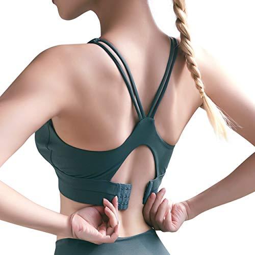 Damen Sport-BH Anti-Schock U-Neck Verstellbare Intensität Fitness Lauf BH Stark Halt, Dunkelgrün S - 4