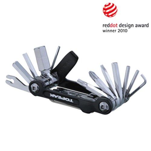 TOPEAK Mini 20 Pro Miniwerkzeug Faltbar Mini-Tool Fahrrad Innensechskant Kettennieter + Tasche, 15400166, Farbe schwarz