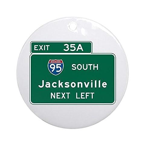 CafePress - Jacksonville, FL Highway Sign Ornament (Round) - Round