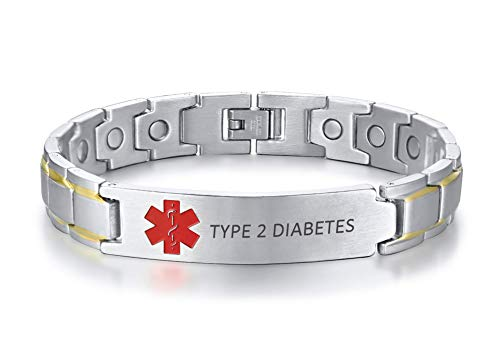 XUANPAI Gravierte Type 2 Diabetes Edelstahl Magnetische Gesundheit Einstellbares Armband Red Medical Alert ID Tag Notfall Silber Armband für Männer (Medical Alert)
