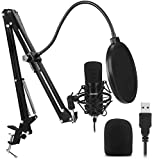 Newhaodi Microphone à Condensateur USB Enregistrement pour Ordinateur de Bureau et Ordinateur Portable Mac Windows Microphone Cardioïde pour Enregistrement Studio Conversation Youtube Voice Over