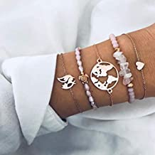 Edary Kaart Armband Set Roze Natuurlijke Steen Armbanden Schildpad Hand Sieraden Kristal Kralen Hand Ketting voor Vrouwen en Meisjes (5st)