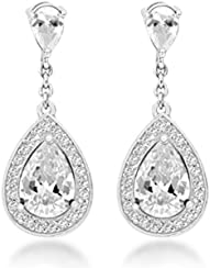 Tuscany Silver Damen-Ohrhänger 925 Silber Zirkonia Weiß 2.9 cm - 8.58.7809