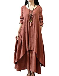 8fa6e85ec94 Women Plus Size Maxi Dress Loose Vintage Double Layers Cotton Linen Dresses