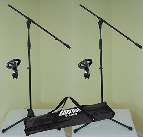 2 x Adam Hall S 5 BE - Mikrofon-Ständer mit Schwenkarm / Galgen, Mikrofon-Klammer Ø 23 - 36 mm & Transport-Tasche - Mikrofon-Stativ Dreibein schwarz S5BE + D903 + SMICBAG