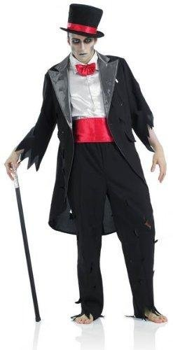 Fancy Me Herren Leiche Tot Zombie-bräutigam Vampir Halloween Kostüm Kleid Outfit - Schwarz, Large, Schwarz