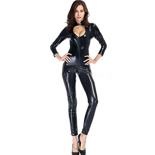 Sexy Leder Dessous Clubwear Kostüm Frauen Jumpsuit Body Babydoll Nachthemd Mit Offenem Schritt