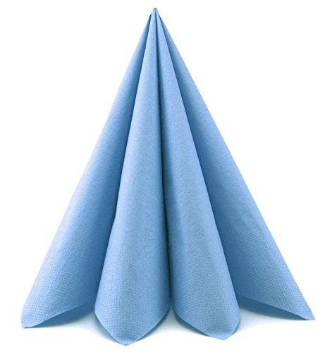 Deko Angels 20 x Papierservietten HELLBLAU Servietten 40 x 40 cm (0,17€/Stück) Tissue 3-lagig Tischdeko Hochzeit Taufe dünne Mundservietten Falten von FINEMARK