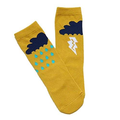 Socken Longra Mädchen und jungen Herbst Winter Strümpfe für Kinder Baby Baumwolle Strumpfe Kniestrümpfe (0-6 Jahre) (S 0-2Jahre, Yellow) (Crochet-baby-socken)
