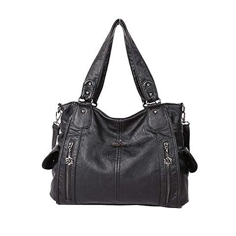 Angelkiss 2 Top Zippers Multi Pockets Femmes Sacs à main / Bourses en cuir lavé / Sacs à bandoulière 1193 (Noir)