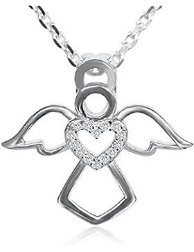 Minoii   Engel Schutzengel Anhänger 925 Sterling Silber & Zirkonia   Größe: 2,1 x 2 cm