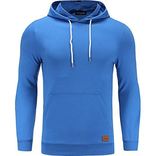 Turnglam Pull Herren Jacke Hoodie Casual Sweatshirt Slim Fit solide Farbe mit vorderen Tasche Outwear Tops (L, Royal Blue Dünner) Hoodie Sweatshirt Jacke
