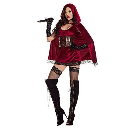 Vampir Vintage Kostüm - Halloween Rotkäppchen Märchenschloss Kleid Vampir Hexe Kostüm Sexy Erwachsener Vintage Kleid Cape Mantel Königin Punk Gothic Mittelalter Party Karneval Cosplay Karneval Bühne Tarnung