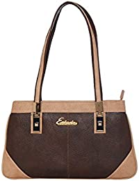 ESBEDA Brown & Beige Solid PU Synthetic Handbag For Women