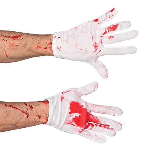 Boland-Handschuhe Blutbad Bloody Mens, weiß/rot, One Size, - Nacht Chirurg Kostüm