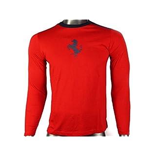 Ferrari Original Herren Männer Longsleeve T-Shirt Langarm (Rot, XL)
