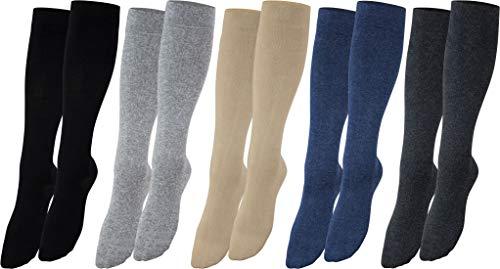 Vitasox 44450 Stützstrümpfe für Damen & Herren, Stützkniestrümpfe aus Baumwolle mit Kompression für Flug, Reise, Büro und Auto, Thrombose Socken gegen geschwollene Beine, 4 Paar schwarz 39/42