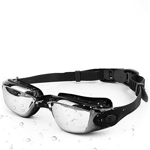 Orsen Schwimmen Brillen, Gespiegelt Schwimmbrille Kein Auslaufen Anti Nebel UV-Schutz für Erwachsene Herren Frauen Youth Kinder Kind, Black-5