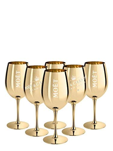 6x Ice Imperial Champagnerglas Echtglas Gold - Champagne Moët & Chandon