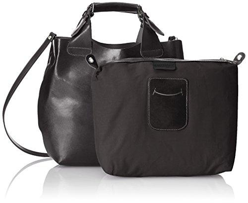 CTM Bag Woman Hand und Schulter, 44x30x13cm, 100% echtes Leder Made in Italy Schwarz (Nero)