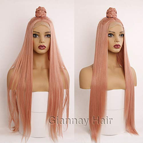 Giannay Hair Orange Pink Wigs Silky Long Straight