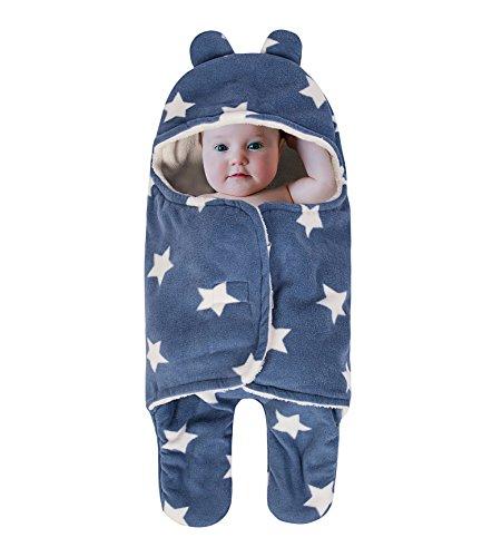 Baby coperta per sacco nanna, spessore in pile fasciare coperte seperated gambe morbida e calda per bagno, aria condizionata, autunno, inverno con velcro, carino orso orecchio cappuccio