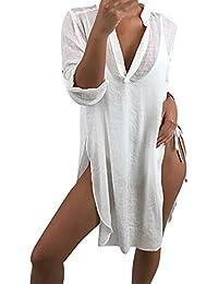 2fe866ad67d2 LEvifun Copricostume Mare Donna Vestiti Corti Estate Boho Hippie Kaftan  Tunica Etnica Kimono Abito da Spiaggia per…
