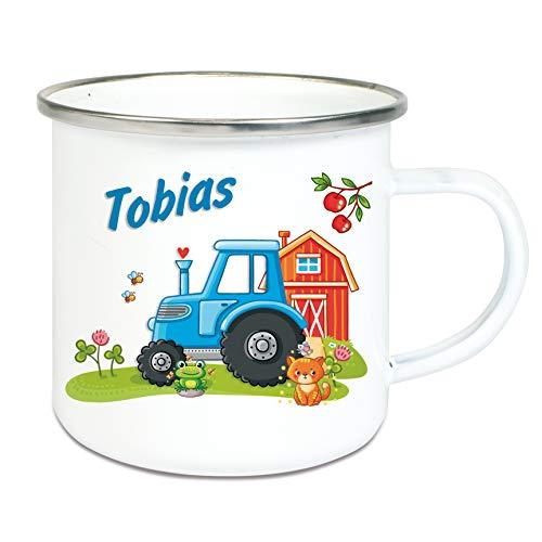 Werbetreff Gera Emaille Tasse Traktor mit Name, Campingbecher, Trinkbecher für Kinder und Erwachsene - Traktor-becher