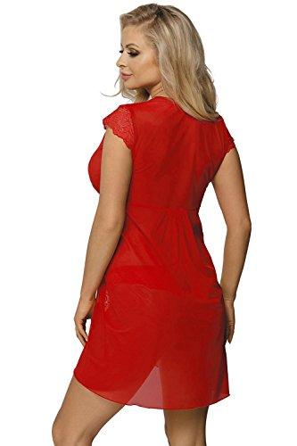 Excellent Beauty N-723 Peignoir Dame Morgenmantel Spitze Kurzarm V-Ausschnitt EU Rot