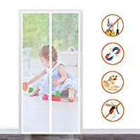 Magnetic door fly screen 100x220cm, Fly screen patio door, Automatic closure Magnetic adsorption Shut Automatically, for Living room/Patio door - White