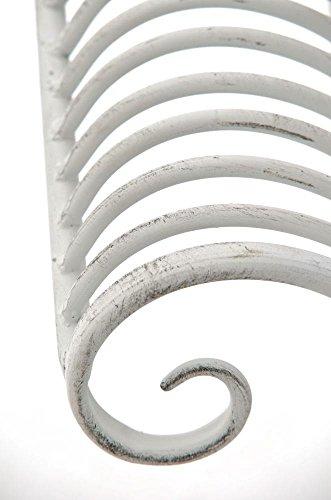 Gartenbank aus Metall in antik Weiß, eine romantische Nostalgie Liege-Bank – Ruhebank mit Ornamenten im Landhausstil - 5