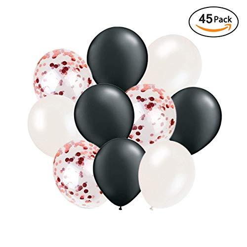 Ohigh 45 Stück Luftballons Schwarz Weiß Ballons mit Rosegold Konfetti Luftballon für Damen Herren Geburtstag Abschluss Halloween Party Deko (ca.30cm) (Geburtstag Einem Mit Halloween An)