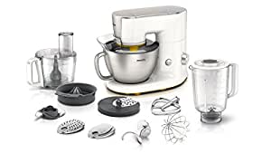 Philips HR7954/00 Kitchen Machine Blender/Kit Pâtisserie/Robot Multifonction/Presse-Agrumes Blanc/Gris Métallisé 4 L