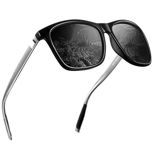 wearPro Männer Polarisierte Sonnenbrille Herren Sonnenbrille für Männer HD Objektiv Metallrahmen Herren Sonnenbrille WP 2003(schwarz)