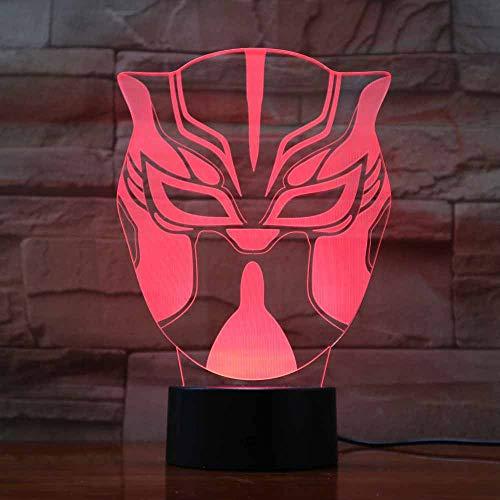 Kreative 7 Farben Ändern 3D Cartoon Masken Modellierung Schreibtischlampe Kinder Touch Button Led Nachtlicht Baby Nacht Schlaf Beleuchtung Decor (Cartoon Die Maske Wolf)