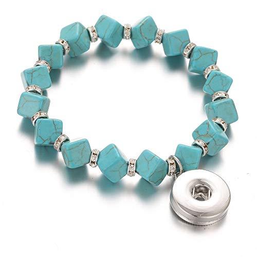 DLIAAN Armband Mode Druckknopf Charme Armband Bangle Naturstein Perlen Elegante Grüne Quadratische Elastische Perlen Snap Armband Für Frauen Männer Paar Armbänder -