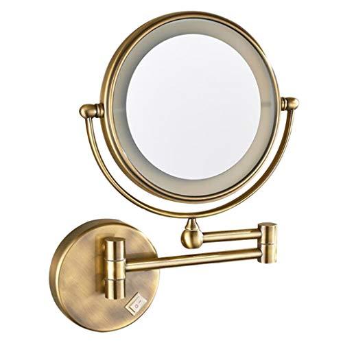 HUYYA Kosmetikspiegel Kompaktspiegel mit licht, Make-Up Spiegel 3 x Fache Vergrößerung Schminkspiegel Doppelseitig Runder für Badezimmer, Spa und Hotel Powered by Plug,Bronze_8inch