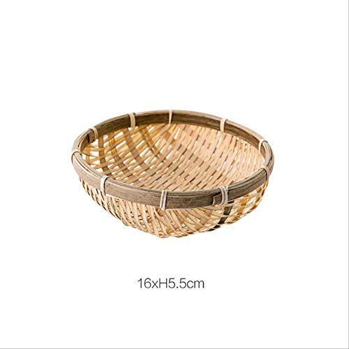 JOSETONG Bambus Aufbewahrungsboxen, Obstteller Tablett Nuss Brot Lebensmittelbehälter Geschirr Halter Home Organizer Kehrblech XL D