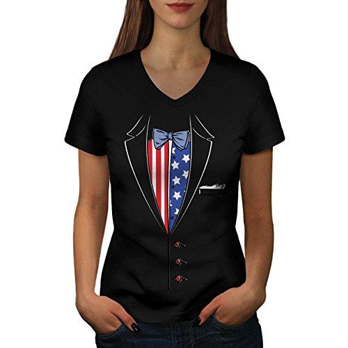 USA Flagge Anzug Mode Damen S V-Ausschnitt T-shirt | Wellcoda