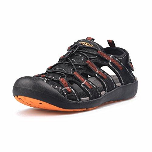GRITION männer Outdoor - Sandalen größe Sport wandern Sandalen schnell trocken. Toecap Sommer Schuhe orange/schwarz. (43 EU, Orange)