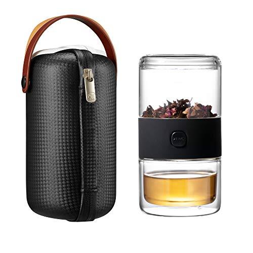 ZENS Glas-Teekanne mit Infuser,Tee-Infuser-Tasse,Tee-Set mit Etui,Teekanne für eine mit Tasse,Loose Leaf-Teebereiter,Schwarz Teekanne Tee Infuser