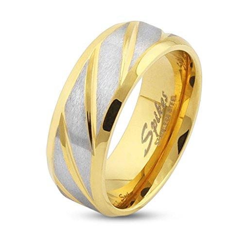 Autiga Ring Edelstahl Herren Damen Diagonal Streifen Partnerring Ehering Gold Schwarz Bandring Gold 57 - Ø 18,14 mm 6 mm